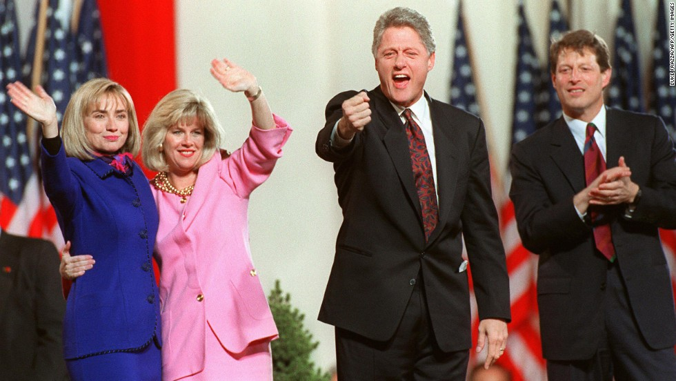 From left, Hillary Clinton, Tipper Gore, Bill Clinton and Al Gore celebrate their successful bid for the White House from the Old State House in Little Rock, Arkansas, on November 4, 1992. Clinton won with 43% of the vote to Bush's 37% and Perot's 19%.