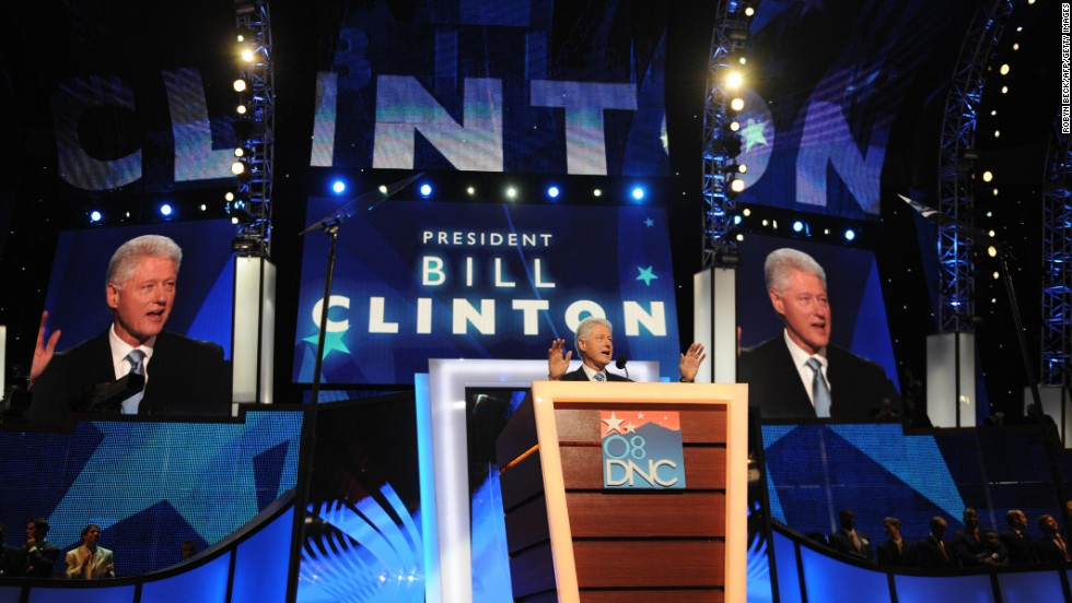 The former President addresses the Democratic National Convention on August 27, 2008, at the Pepsi Center in Denver, Colorado. Democrats made history on August 27, installing Barack Obama as the first black presidential nominee of a major U.S. party. A state-by-state roll-call vote was dramatically suspended when Hillary Clinton appeared on the floor of the convention and called for Obama to be nominated by acclamation.