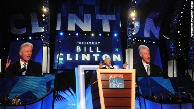 Fomer US president Bill Clinton addresses the Democratic National Convention 2008 on August 27, 2008 at the Pepsi Center in Denver, Colorado. Democrats made history August 27, installing Barack Obama as the first black presidential nominee of a major US party. A state by state roll-call vote was dramatically suspended when Hillary Clinton appeared on the floor of the convention and called for Obama to be nominated by acclamation.  AFP PHOTO /  Robyn BECK (Photo credit should read ROBYN BECK/AFP/Getty Images)