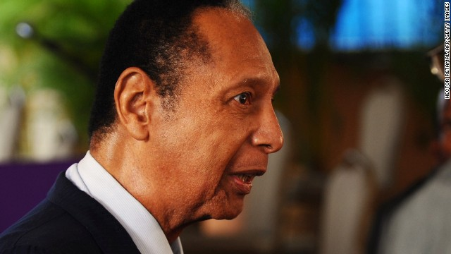 Former Haitian President Jean-Claude 'Baby Doc' Duvalier attends the funeral of former Haitian President Leslie Manigat in Port-au-Prince on July 5, 2014. Three days of mourning have been declared in Haiti for Manigat, who died on June 27. He was 83. AFP PHOTO/Hector RETAMAL (Photo credit should read HECTOR RETAMAL/AFP/Getty Images)