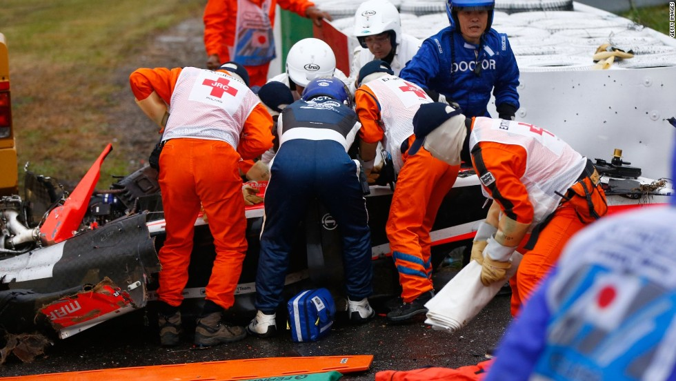 Bianchi, who was in his second season with the Marussia team, received urgent medical treatment after crashing when rain fell towards the end of the race at the demanding Suzuka circuit.