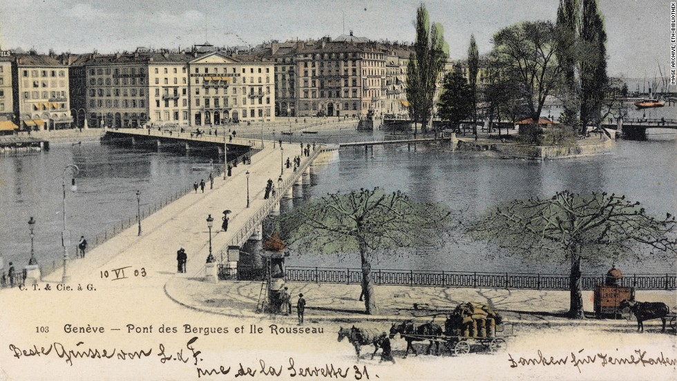 Geneva's Pont des Bergues is seen stretching over the Rhone river in this card from 1903.