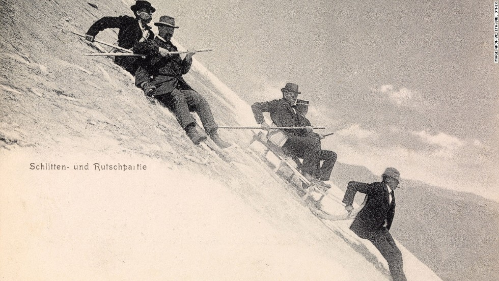 "This postcard dated 1907 is simply titled ""sledging."""