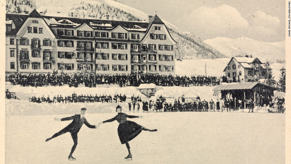 A charming scene of skaters outside the Cresta Palace in the Swiss resort of St. Moritz. This card is date stamped 1923.