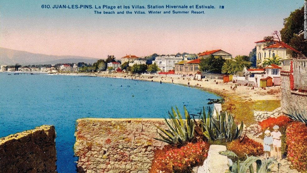"This colorful card from 1926 is captioned, ""The beach and the villas, winter and summer resort. Nice."""