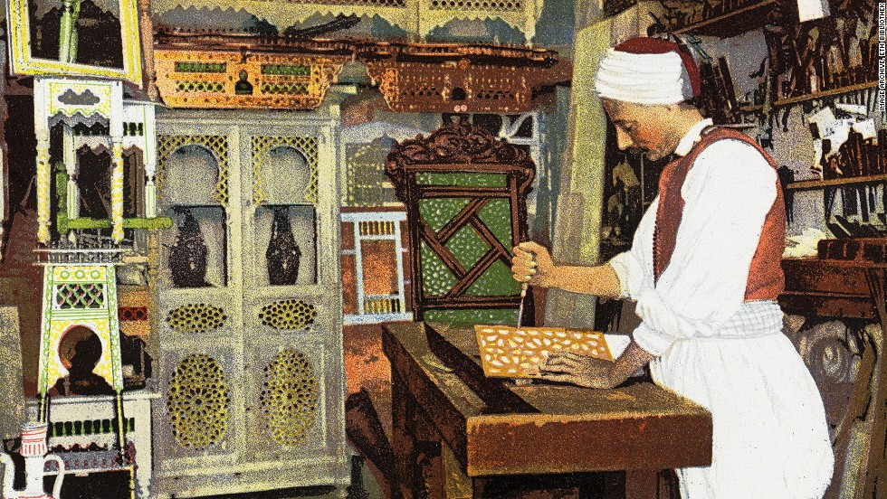 "This over-painted 1926 card shows an ""Arab carpenter"" at work. It's not clear which country the card depicts."