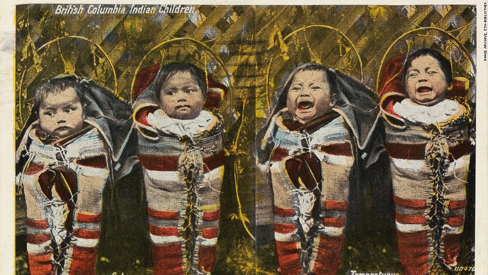 "Subtitled ""calm/tempestuous"" this card shows a quartet of aboriginal babies in British Columbia, Canada, in 1921."