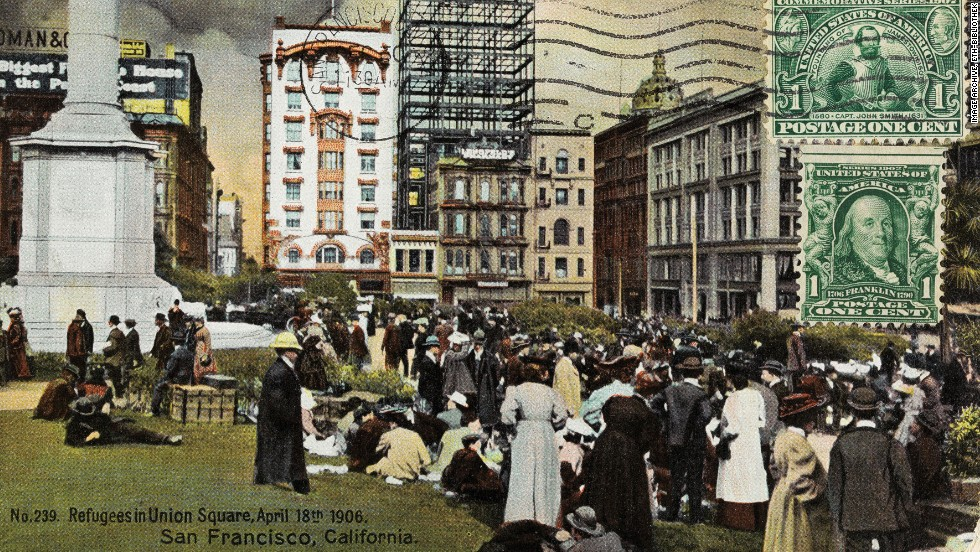 "Not all vintage postcards displayed picture ""postcard"" scenes. This one from 1906 shows refugees gathered in San Francisco's Union Square."