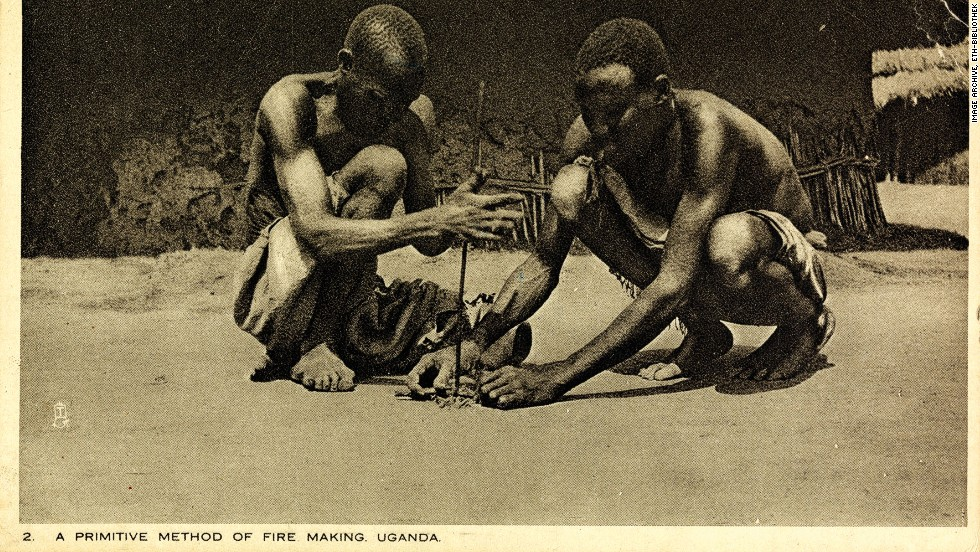"Sent just two years before Feller's death in 1931, this postcard shows two men in Uganda demonstrating, according to the caption, ""a primitive method of fire making."""
