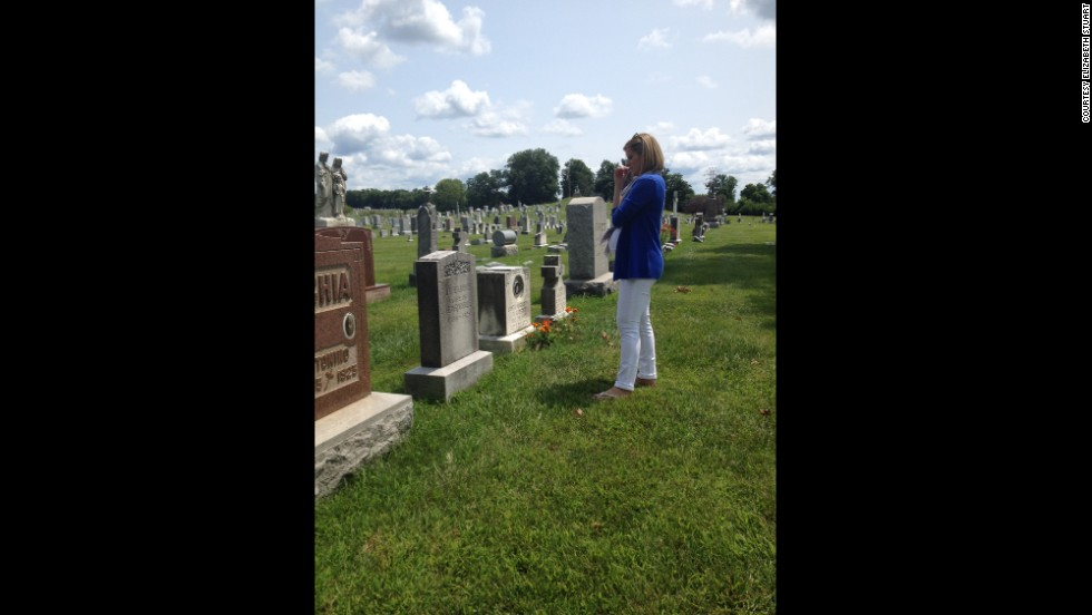 Bolduan visits the cemetery in Columbus, Ohio, where her great-great-grandparents are buried.