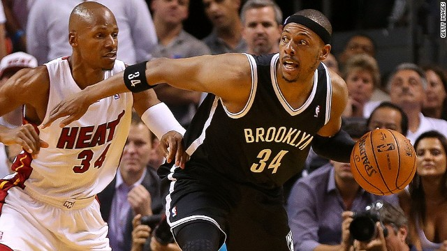 MIAMI, FL - MAY 14: Paul Pierce #34 of the Brooklyn Nets posts up Ray Allen #34 of the Miami Heat during Game Five of the Eastern Conference Semifinals of the 2014 NBA Playoffs at American Airlines Arena on May 14, 2014 in Miami, Florida. NOTE TO USER: User expressly acknowledges and agrees that, by downloading and/or using this photograph, user is consenting to the terms and conditions of the Getty Images License Agreement. Mandatory copyright notice: (Photo by Mike Ehrmann/Getty Images)
