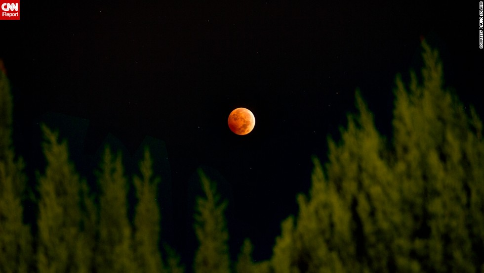 "<a href=""http://ireport.cnn.com/docs/DOC-1177472"">Paulo Solano</a> combined three different exposures using HDR photography to create this beautiful image from Van Nuys, California, of the October 2014 lunar eclipse. The second ""blood moon"" of the year could be witnessed throughout North America, as well as over most of the Pacific and much of East  Asia."