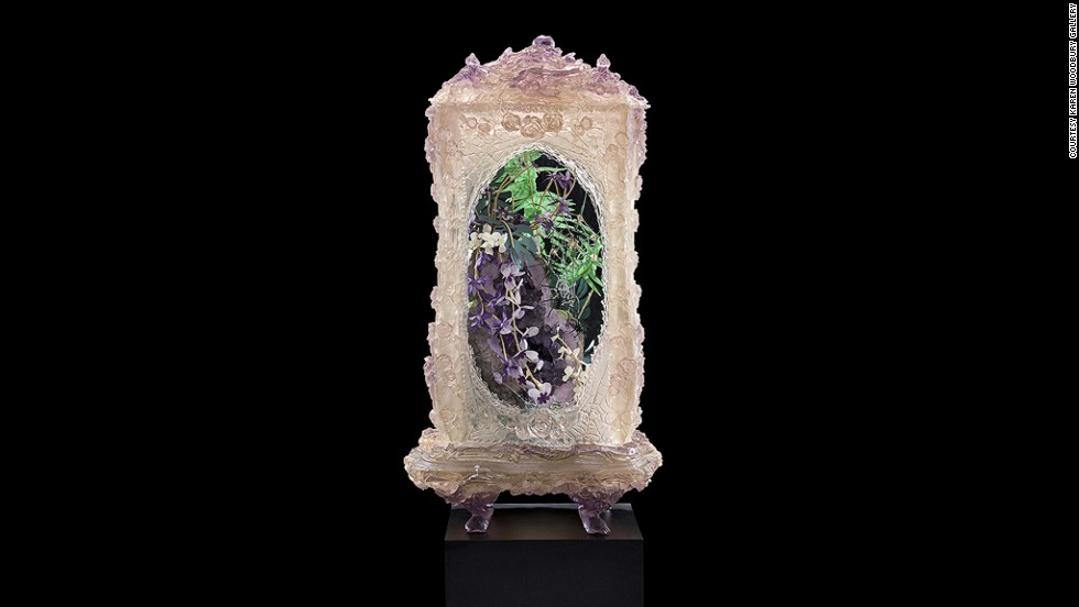 Crystals and Spiders represents one of Rohde's signature installations, with plants and minerals crammed into a baroque display case.
