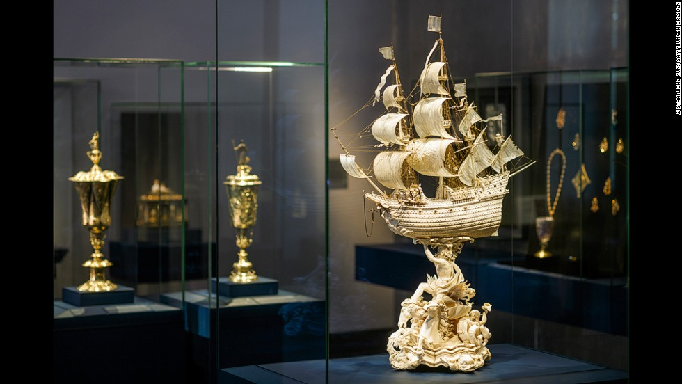 This exquisite frigate of ivory and gold, supported by a figure of Neptune, was the final work of the noted Dutch carver Jacob Zeller. The ship's billowing sails are wafer-thin slivers of ivory.