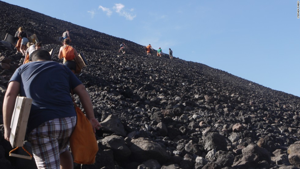 The hike to the top of Cerro Negro takes about an hour.