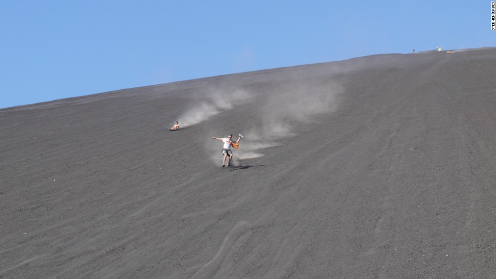 Volcano boarding was invented in 2004 when a genius named Daryn Webb decided to ride down the mountain on a small refrigerator removed from a hotel minibar.