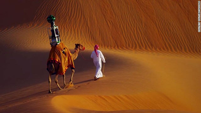 'Raffia' the camel captures images of the Liwa Oasis for Google's Street View Treks.