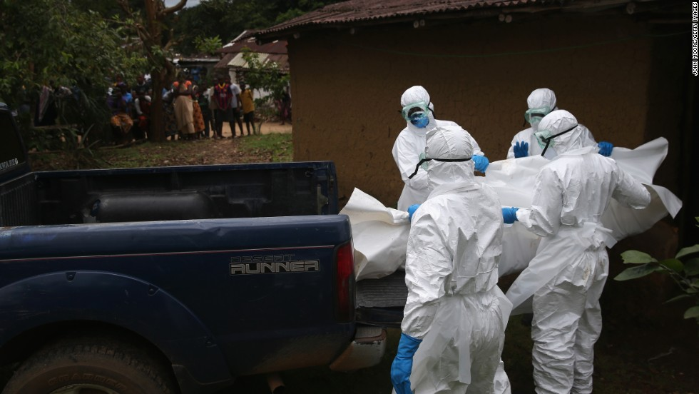 "The U.S. Centers for Disease Control and Prevention recommends that only people ""trained in handling infected human remains, and wearing personal protective equipment, should touch or move any Ebola-infected remains."""