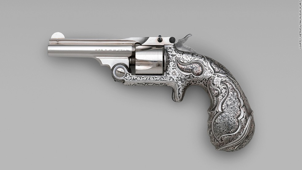 Engraving guns was common, but these were decorated using a chemical etching technique, which was extremely rare.