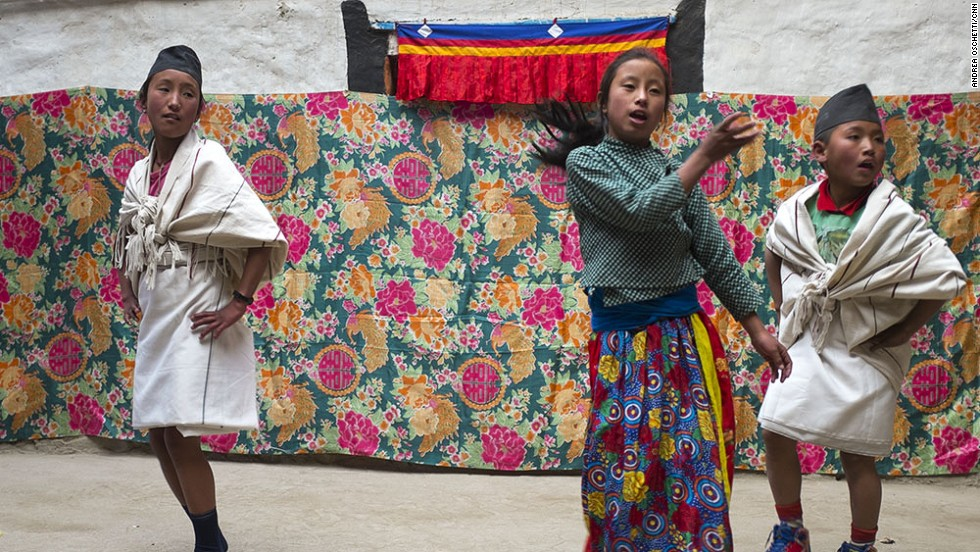 Children rehearse for one of the festivals and religious ceremonies celebrated throughout the year in Mustang.