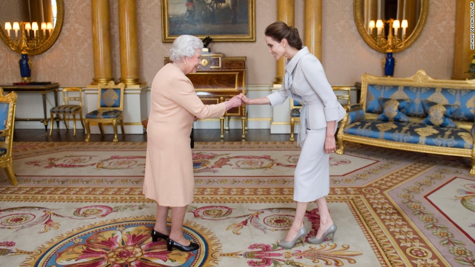 In October 2014, Britain's Queen Elizabeth II made Jolie an honorary dame for her work to root out sexual violence in war zones.