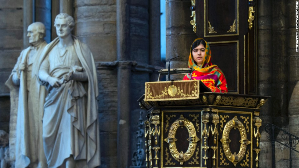 Malala speaks during the Commonwealth Day observance service at Westminster Abbey in London. Malala has lived in Britain since the Taliban attack.