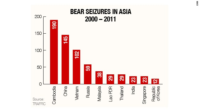 Cambodia leads Asian bear seizures
