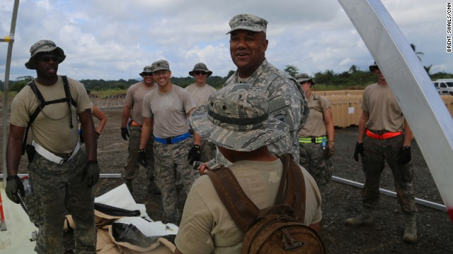 Maj. Gen. Darryl Williams with members from the Air Force at the Monrovia Medical Unit, a facility that is being built by the US military and staffed by US public health workers.