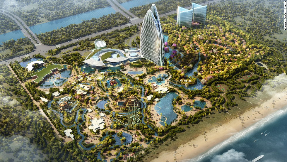 Overlooking the South China Sea, Atlantis Sanya will have an Aquaventure Waterpark and marine exhibits. All theme park images are artist renderings and subject to change upon construction.