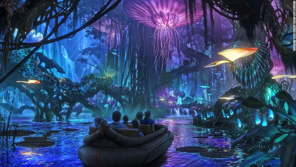 Disney World in Orlando will bring Avatar's blue-peopled planet, Pandora, to life with fantastical rides and the movie's strange jungle atmosphere.