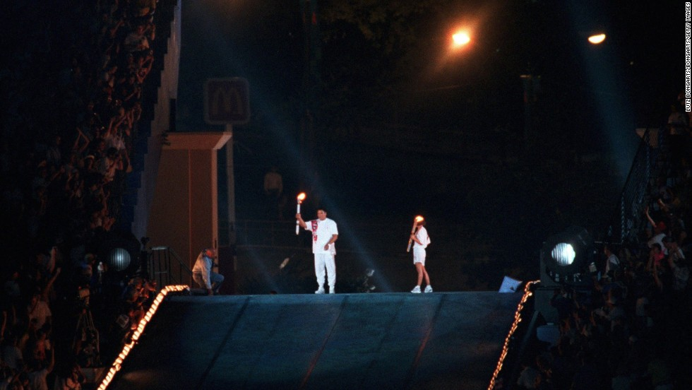 Ali lights the Olympic torch at the 1996 Summer Olympics in Atlanta.