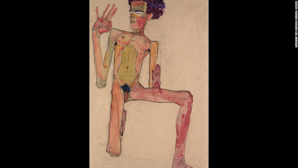 "<em><strong>Kneeling Nude with Raised Hands (Self-Portrait), 1910 </strong></em><br /><br />The city's intellectual circles took to him immediately. Though his work wasn't earning him a fortune, Schiele was able to remain afloat thanks to the support of a handful of loyal collectors.<br /><br />""He quickly established himself because of the brilliance of his draftsmanship and his daring approach."""