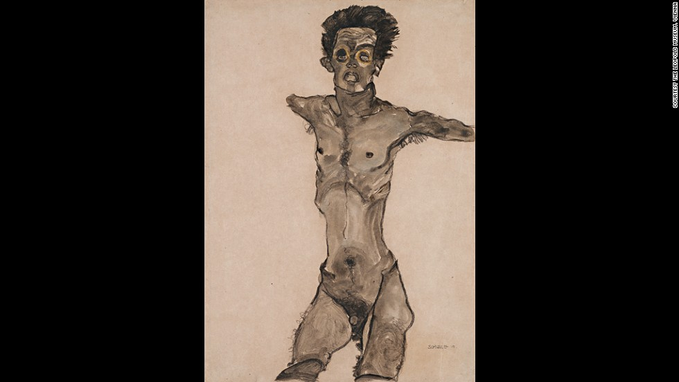 "<em><strong>Nude Self-Portrait in Gray with Open Mouth, 1910</strong></em><br /><br />However, with time, Schiele would go on to win the support of key members of the art establishment. <br /><br />""Most of his nudes are not explicit and shocking, and large groups of those nudes were exhibit publicly,"" Wright says. ""From 1915 onwards, they really helped secure his reputation more generally."""