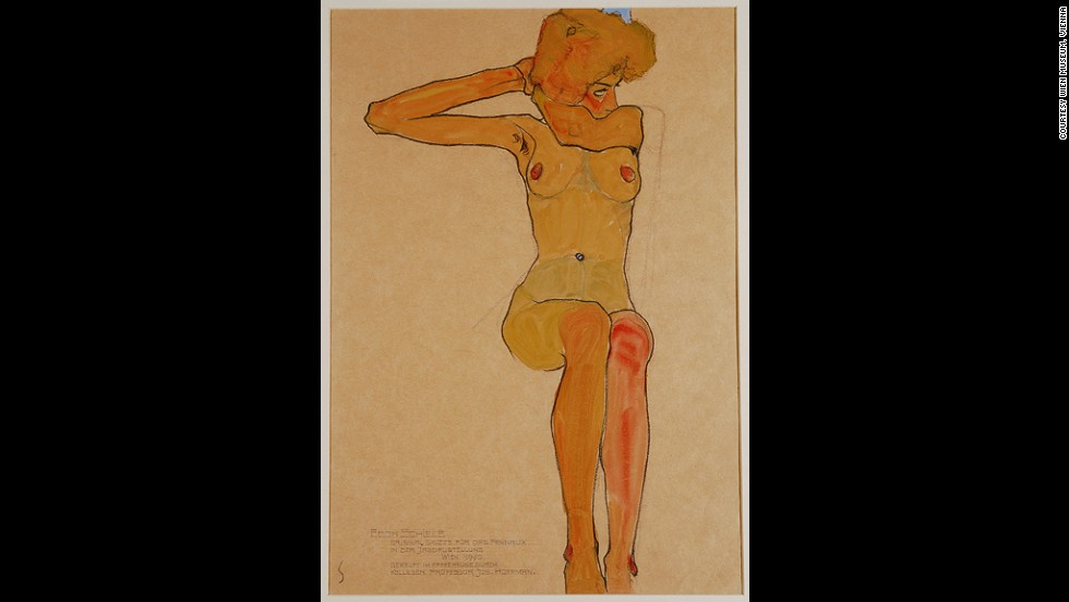 "<em><strong>Seated Female Nude with Raised Arm (Gertrude Schiele), 1910</strong></em><br /><br />In 1918, Schiele would succumb to the Spanish flu pandemic that would kill as many as 50 million that year, at the age of 28.<br /><br />Though his contributions to the art world were never truly recognized until the seventies, Wright believes Schiele's influence can still be seen today, especially in provocative female artists like <a href=""http://www.saatchigallery.com/artists/tracey_emin.htm"" target=""_blank"">Tracey Emin</a>, <a href=""http://www.marlenedumas.nl/"" target=""_blank"">Marlene Dumas</a>, and <a href=""http://www.gagosian.com/artists/jenny-saville"" target=""_blank"">Jenny Saville</a>, who is part of <a href=""http://www.kunsthaus.ch/en/exhibitions/current/egon-schiele-jenny-saville/?redirect_url=title%3Dpeinture"" target=""_blank"">a joint exhibition with Schiele</a> at Kunsthaus Zürich.<br /><br />""The power of their work is this sort of reappropriation of the naked body, male and female, when for centuries women artists had very little voice and certainly wouldn't have been able to produce such work,"" Wright says. ""When female artists use the nude in that way, it's quite comparable to Schiele wanting to challenge the kind of very staid, conservative and rather hypocritical culture of Vienna around 1900."""