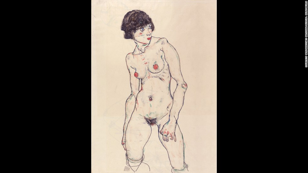 "<em><strong>Standing Nude with Stockings, 1914</strong></em><br /><br />Though widely lauded by art historians today, Schiele's nudes initially drew intense criticism from traditionalists and the public. A coy, blushing nude could be a masterpiece, but his challenging figures were considered more pornographic than artistic.<br /><br />""Sometimes these poses are very frank in their sexuality and explicitness, and would have been totally beyond the pale for the academic context, or even affronting contemporary standards of morality,"" explains Barnaby Wright, Daniel Katz Curator of 20th Century Art at The Courtauld Gallery."
