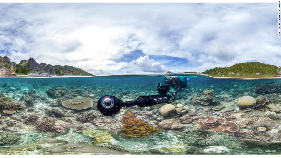 The mapping effort employs a Seaview SVII underwater camera, which has a propeller attached to the back. Three digital SLR cameras encased in the globe-shaped lens capture high resolution, 360-degree images.