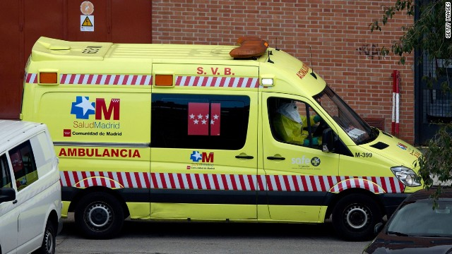 MADRID, SPAIN - OCTOBER 16: An ambulance arrives at Carlos III hospital bringing suspected Ebola case on Air France plane landed at Madrid Barajas airport to on October 16, 2014 in Madrid, Spain. (Photo by Gonzalo Arroyo Moreno/Getty Images) MADRID, SPAIN - OCTOBER 16: An ambulance arrives at Carlos III hospital, carrying a suspected Ebola patient from an Air France plane that landed at Madrid Barajas airport to on October 16, 2014 in Madrid, Spain. Madrid's Barajas international airport activated emergency measures after a passenger on an Air France flight from Lagos via Paris was suspected of possibly having Ebola. All passengers on the Air France 1300 plane will now be disinfected. (Photo by Gonzalo Arroyo Moreno/Getty Images)