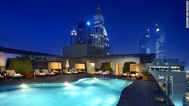 Rooftop swim? Not a bad way to de-stress after a day of meetings.