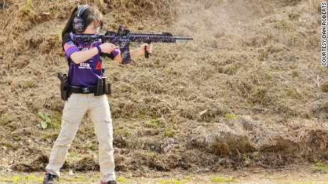 Shyanne shoots the custom AR15 she helped build.