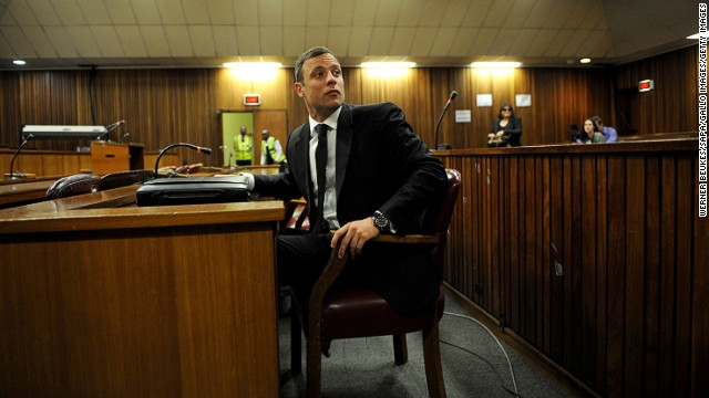 Oscar Pistorius in the Pretoria High Court for his sentencing hearing on October 17, 2014, in Pretoria, South Africa.