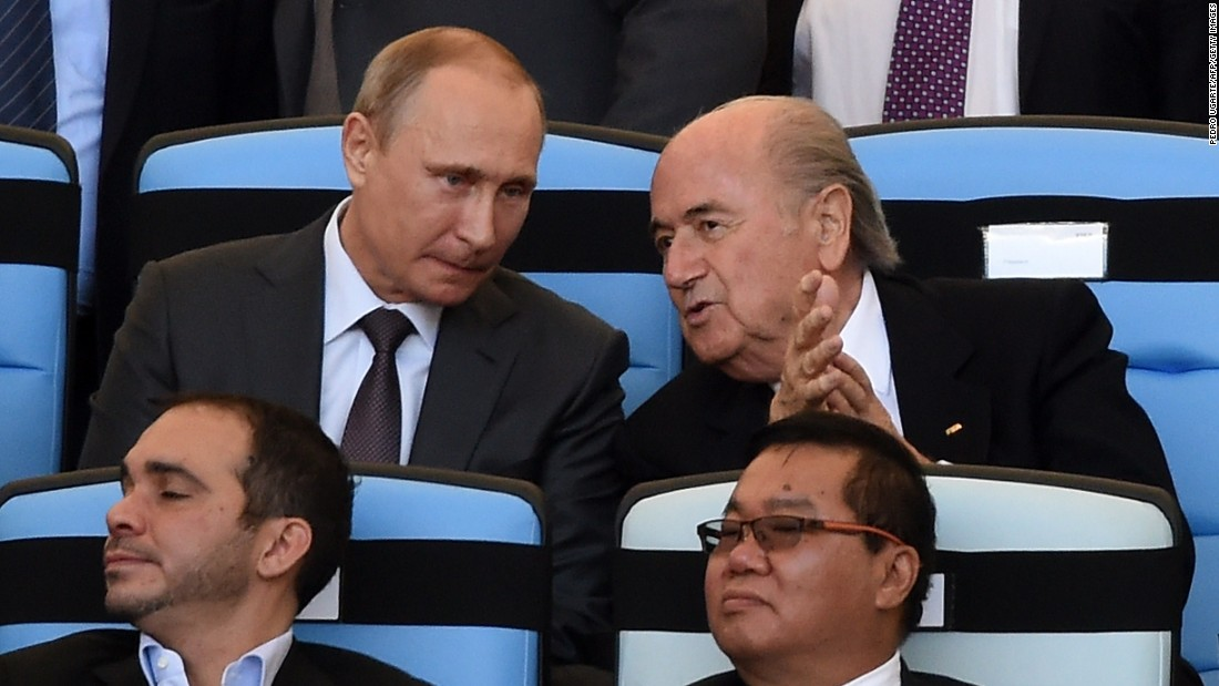 Putin and Blatter (back right) have forged a close relationship. The Swiss has led FIFA since 1998 but decided to stand down on June 2 as football's world governing body battled two corruption scandals.