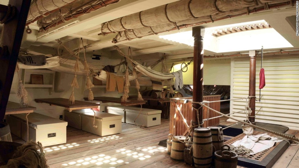 How the mess deck on HMS Endeavour would have looked at the height of its 18th Century existence.