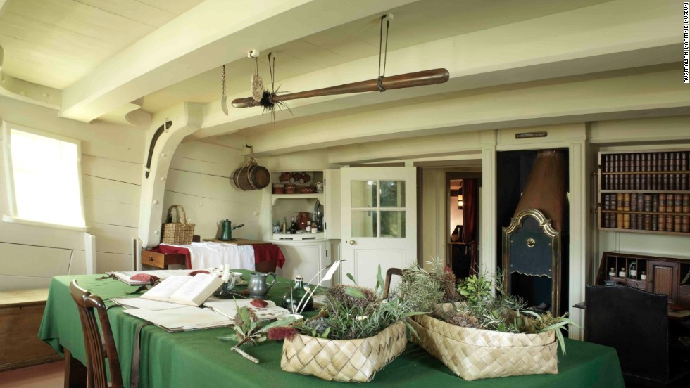 The great cabin on board Endeavour, which Captain James Cook shared with the English naturalist Joseph Banks.