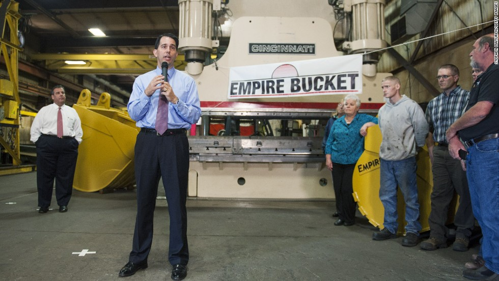 Walker speaks at a campaign stop at Empire Bucket, a manufacturing facility in Hudson, in September.