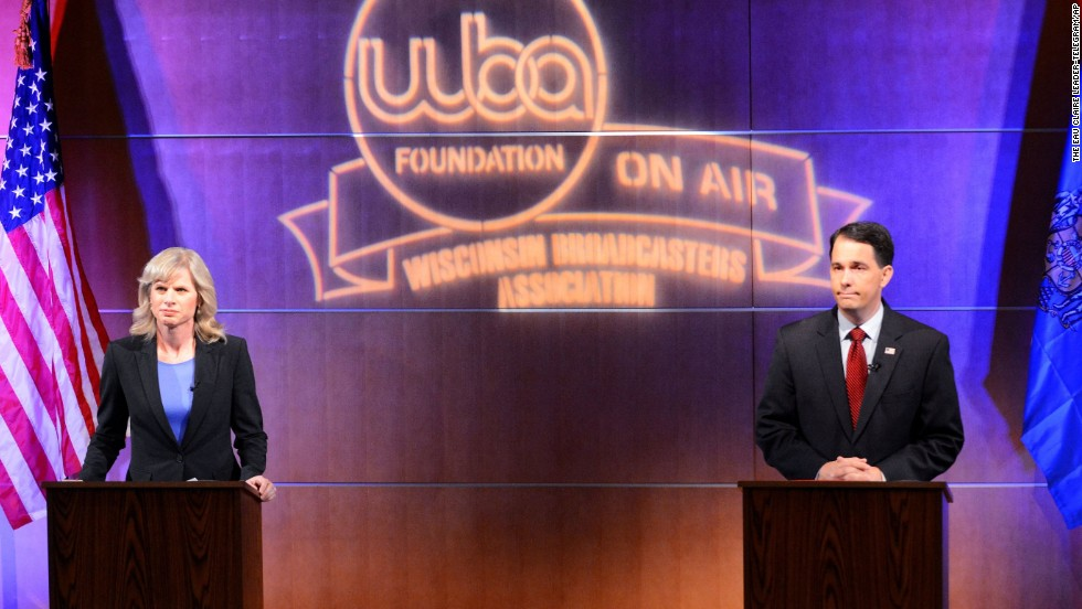 Walker and Burke debate in Eau Claire last month.