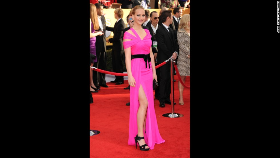 Jennifer Lawrence's dress at the 2011 Screen Actors Guild Awards was as bright as her rising star in Hollywood. Lawrence's hot-pink de la Renta number landed the actress on People magazine's best-dressed list for the event.