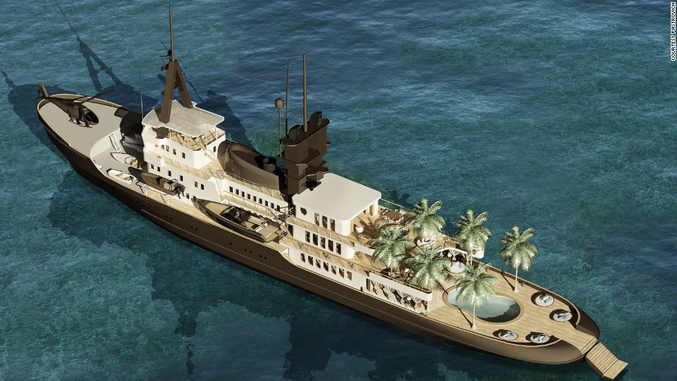 "<strong>BEACH CLUB, designed by Stefano Pastrovich</strong><br /><br />Pastrovich is also behind the 92 meter Beach Club concept, resembling something between a fishing trawler and a private island.<br /><br />""For a long time I've tried selling the idea to my clients of putting sand on a vessel -- people thought I was insane,"" he says with a light laugh.<br /><br />""But I like the idea that the cabin is in a beach house style, and that when you wake up in the morning there is a little umbrella outside your room and you feel like you're at the beach."""