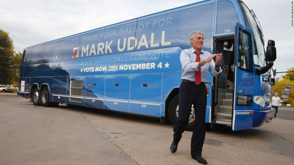 Udall greets supporters at a campaign rally in downtown Denver on October 15. First lady Michelle Obama and former U.S. Secretary of State Hillary Clinton have each pledged their support for Udall and campaigned for him.