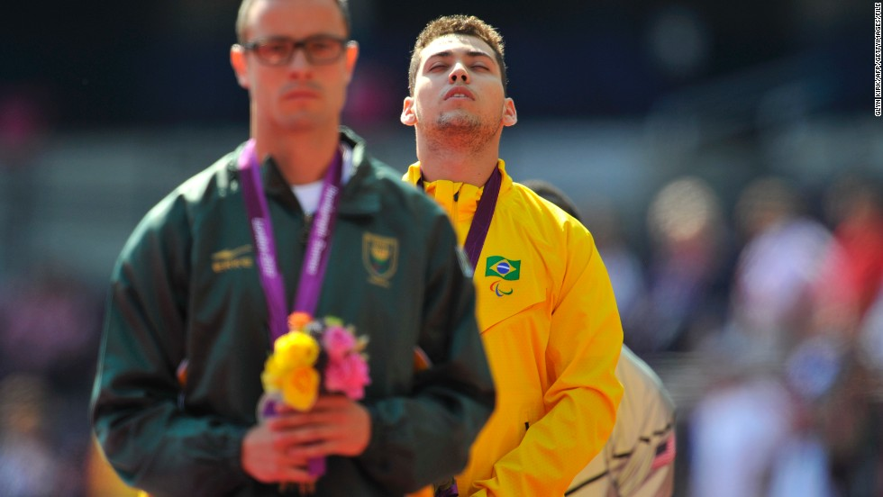 In his first major final of the 2012 Games, Pistorius was left stunned as Brazil's Alan Oliveira thundered to gold in the 200m T44 event. After the race, Pistorius accused Oliveira of wearing illegal blades.