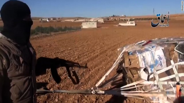Video from the jihadi media group Aamaq -- who often post ISIS video - purports to show an ISIS militant next to a parachute parcel (ie. one of the U.S. airdropped supply bundles).